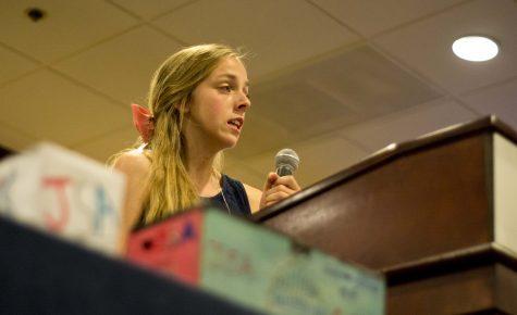Alexis Kallen, senior, spoke at the fall leadership conference.