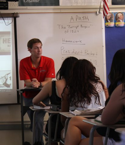 Mr. Matthew Doyle, AP US History teacher, lecturing to his class.
