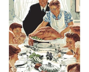 Norman Rockwell's famous portrait of Thanksgiving, courtesy of marymaxim.com
