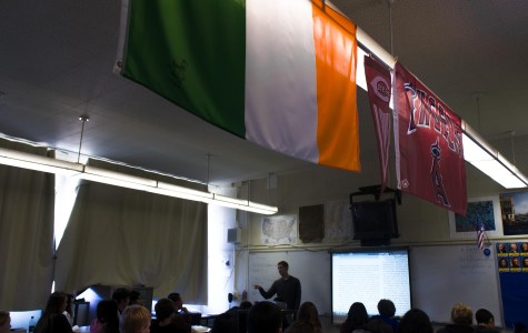 Mr. Matthew Doyle, social science teacher, displaying the flag of his Irish heritage.