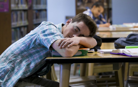Mitchell Sternberg, senior, resting during his study hall period.
