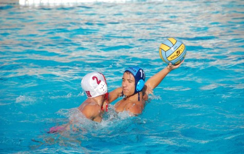 Zack Zeider, senior, protects a Water Polo ball during a game against Hueneme High School.