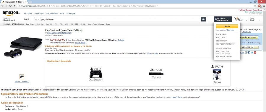 Amazon Canada's product page for the PlayStation 4's restocking date.