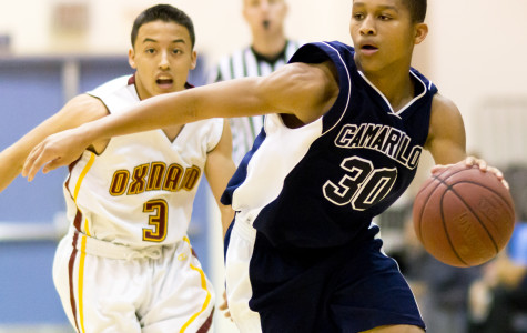Jonah Cottrell, freshman, protects the ball from Mike Golshani, senior, of Oxnard. Moments later, Cottrell would pass the ball off to Justin Warren, senior, who'd score Camarillo's 35th point.