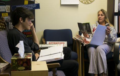Christine Bruggman, a Cam High counselor converses with Ryan Duggar.