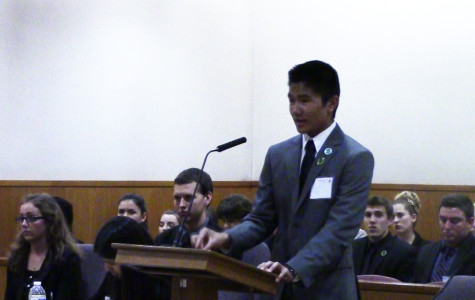 TJ Jose, junior, argues before the judge at Ventura County's Mock Trial Competition Tuesday evening.