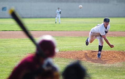 Jeffrey Thoben, freshman, fires one across the plate against Oxnard High School's Yellowjackets.