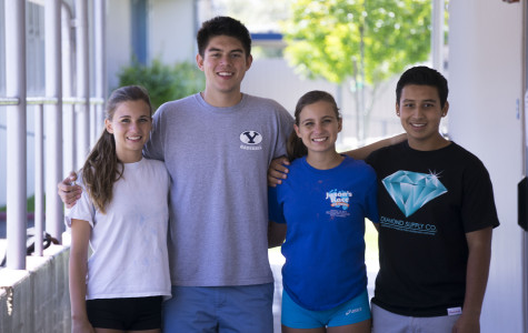 Haley Nagel, Kai Weight, Sarah Nagel, Kyle Gonzan, four members of next year's cabinet, gather for a portrait. Erin Holden was unavailable at the time of the photograph.