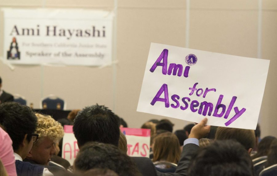 JSA+members+campaign+for+Ami+Hayashi%2C+junior+at+Cam+High%2C+in+her+run+for+speaker+of+the+assembly+for+the+Spring+Conference.+Hayashi+won+and+Alexis+Kallen%2C+senior%2C+was+voted+states+person+of+the+year.