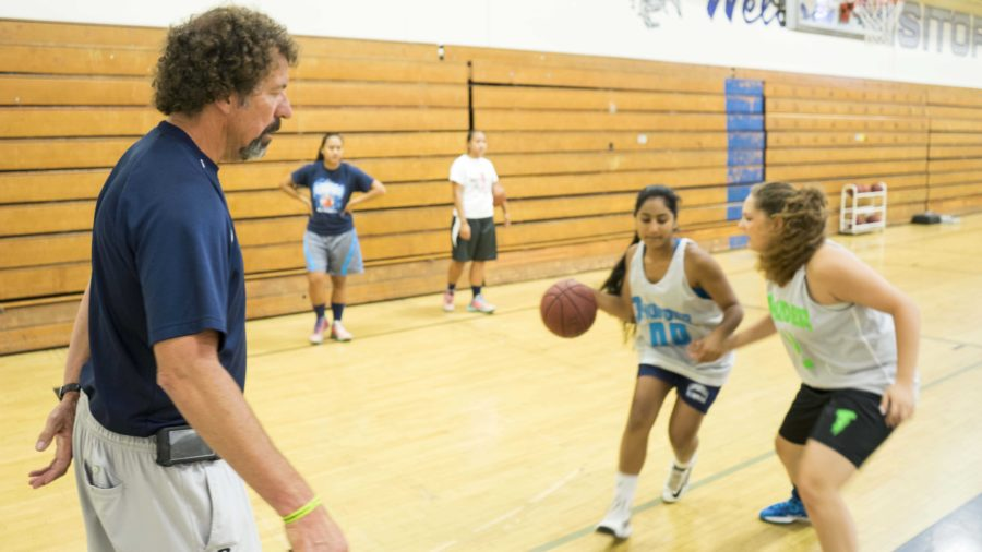 Coach Mike Prewitt trains the girls varsity basketball team.