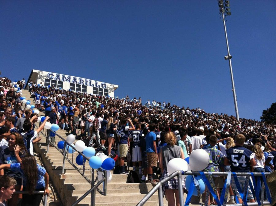 Students were packed in the bleachers during the Welcome Back rally, with the juniors and seniors dominating the middle seating.