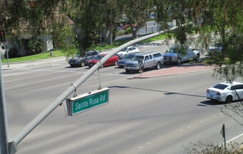 The intersection between Santa Rosa Road and Verdugo Way, where a student was hit by a moving vehicle while attempting to cross.