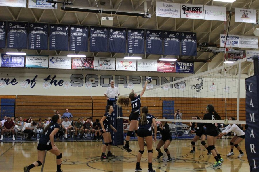 Cam High Girls varsity volleyball dominated the court during their match against Pacifica High.