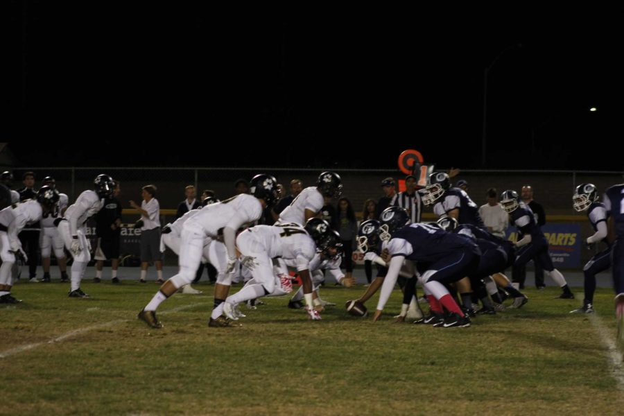 The Scorpions form an offensive line-up against Calabasas's starting defense during the third quarter.