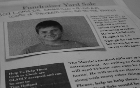 Fundraising flyers for a yard, rummage and bake sale raising funds for Jake Martin, were distributed all over Cam High. Martin is at Children's Hospital Los Angeles recuperating from a diving accident.