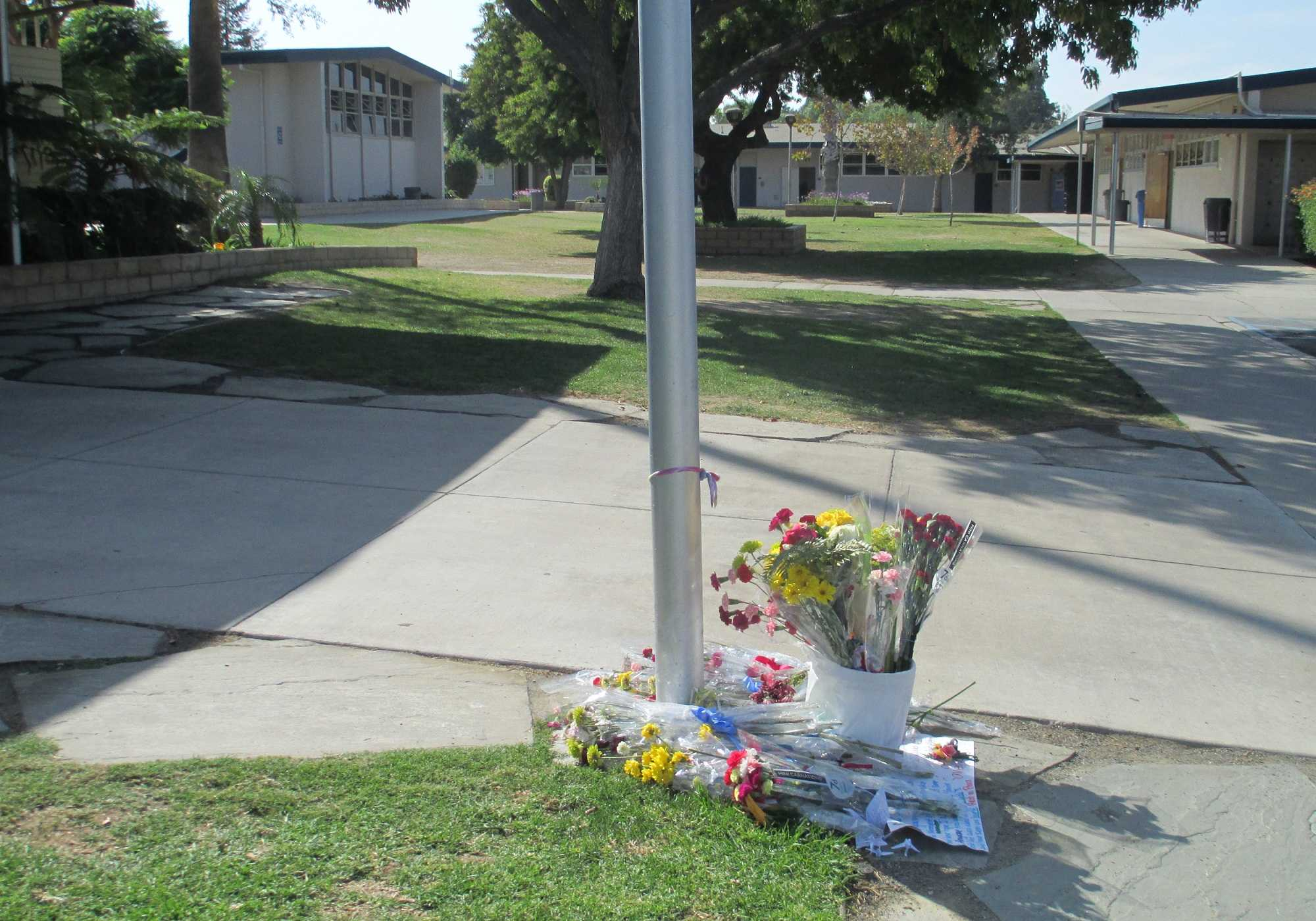 Cam High students created a make-shift memorial in honor of Chase Varney.