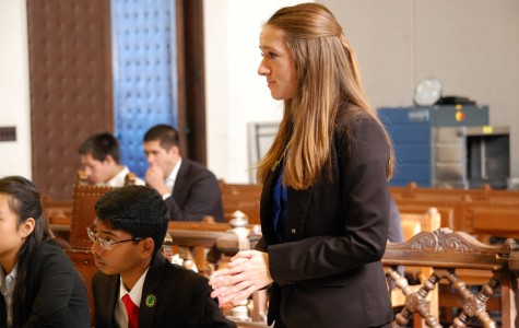 Kaitie Farrell, senior and fourth-year attorney, conducts direct examination on her witness.