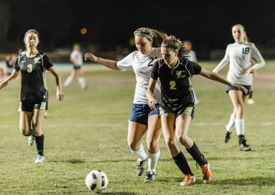 Junior Jackie Fiacco fights an Oak Park player for the ball.