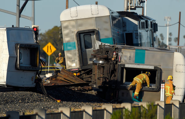 A metrolink train was derailed in Oxnard after colliding with a halted truck present on the tracks, contributing to some community members desires to prevent the allowance of oil trains on the same tracks.
