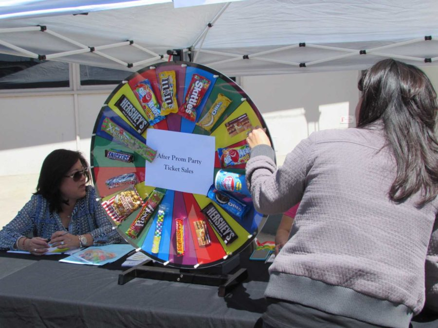 Students purchasing their After- Prom tickets have the opportunity to spin the wheel and win a number of prizes.
