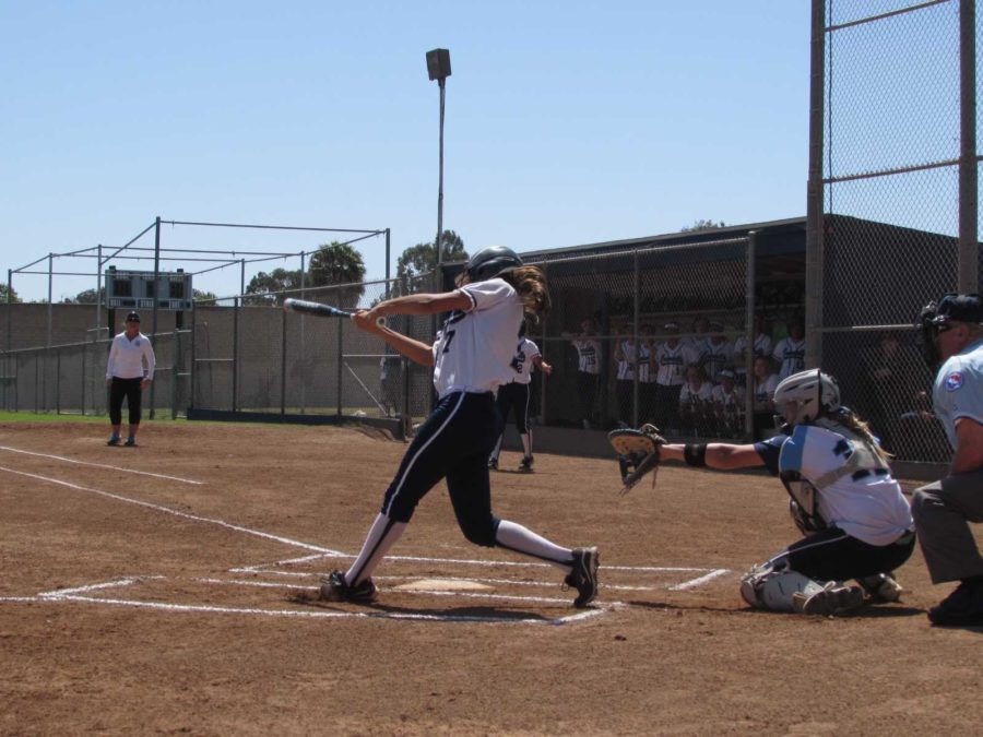 Sara+Silveyra%2C+junior%2C+batting+for+Cam+High+in+a+game+against+Saugus+last+Thursday.+Varsity+softball+lost+their+first+game+of+the+day+but+won+the+second.