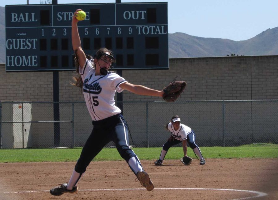 Emily Orosco, senior, pitching at a game versus Saugus.