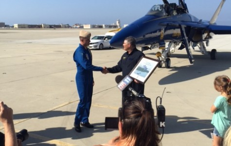 """Varsity football Coach Jack Willard  today, having no previous aviation experience,  flew high with the Blue Angels at Point Mugu Naval Base. Willard was recognized as a key influencer on the youth of Camarillo by sharing his passions and loves with his students and team. His love of football and his dedication to his team earned him the once in a lifetime experience. """"It's a tremendous honor to think that somebody felt I was qualified enough to get in a plane with those guys and fly,"""" he said. The Blue Angels will perform this weekend at the Pt. Mugu Naval Air Station Air Show."""