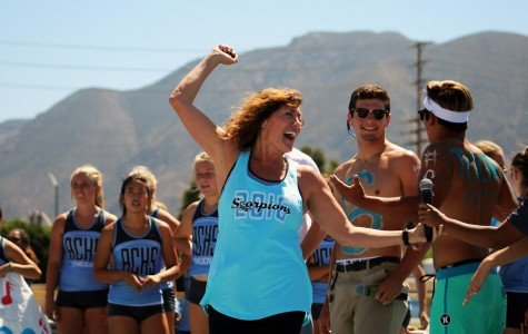 Ms. Lori Pristera, ASB director, rallies the crowd during the Welcome Back celebration in September.