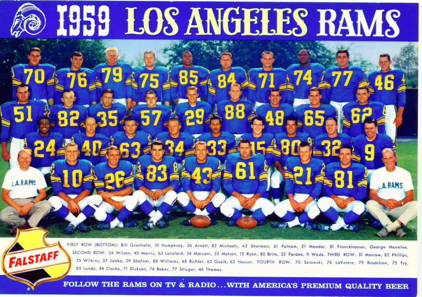A photo of the 1959 Rams when they were still based in L.A.