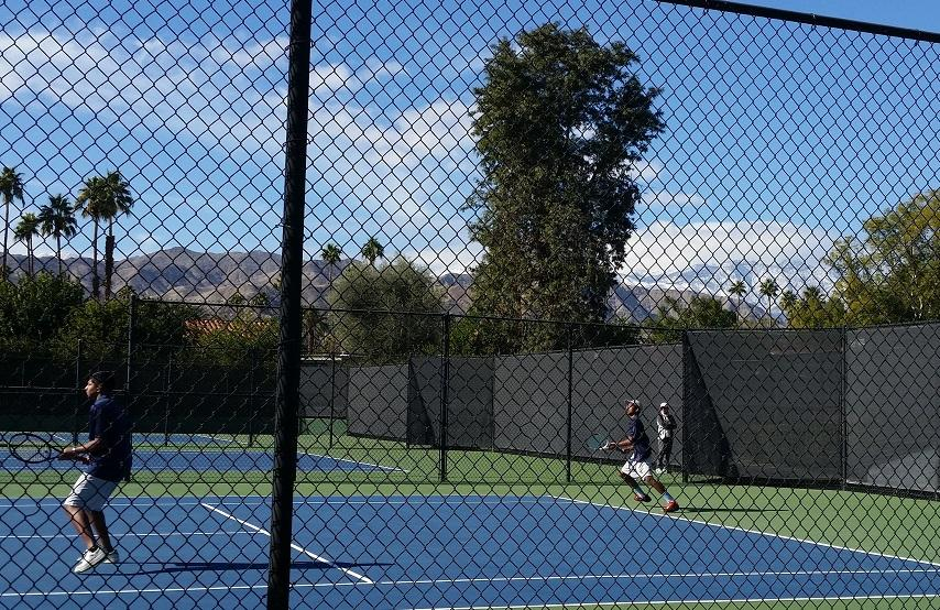 Doubles team Ahren Quddus, sophomore and Avinash Nandakumar, junior playing a match against Los Cab on Saturday.
