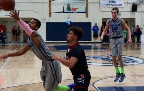 Camarillo's Jonah Cottrell goes after a loose ball against Rio Mesa.