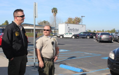 Ventura County Sheriff's deputy and school resource officer Sean Eskridge partners with another Ventura County sheriff from the Camarillo Police department to patrol campus after the threat made through graffiti in the girl's C bathroom.