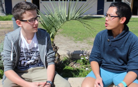 Michael Ma (right), who visited Germany on the GAPP program last year, converses with current German exchange student Matthias Collenberg (left).
