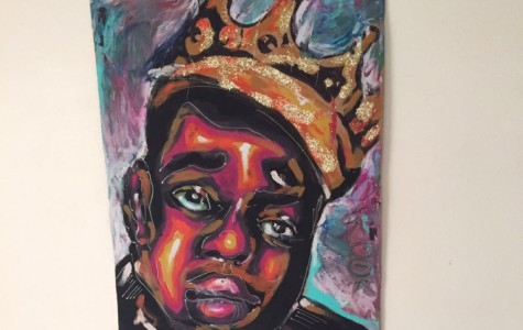 Paintings like this one, made by junior Destini Mejia, were displayed on the walls of Napa Hall at CSUCI. About 100 art pieces were on display during the first day of the expo, according to art teacher Mrs. Bonnie Mills.