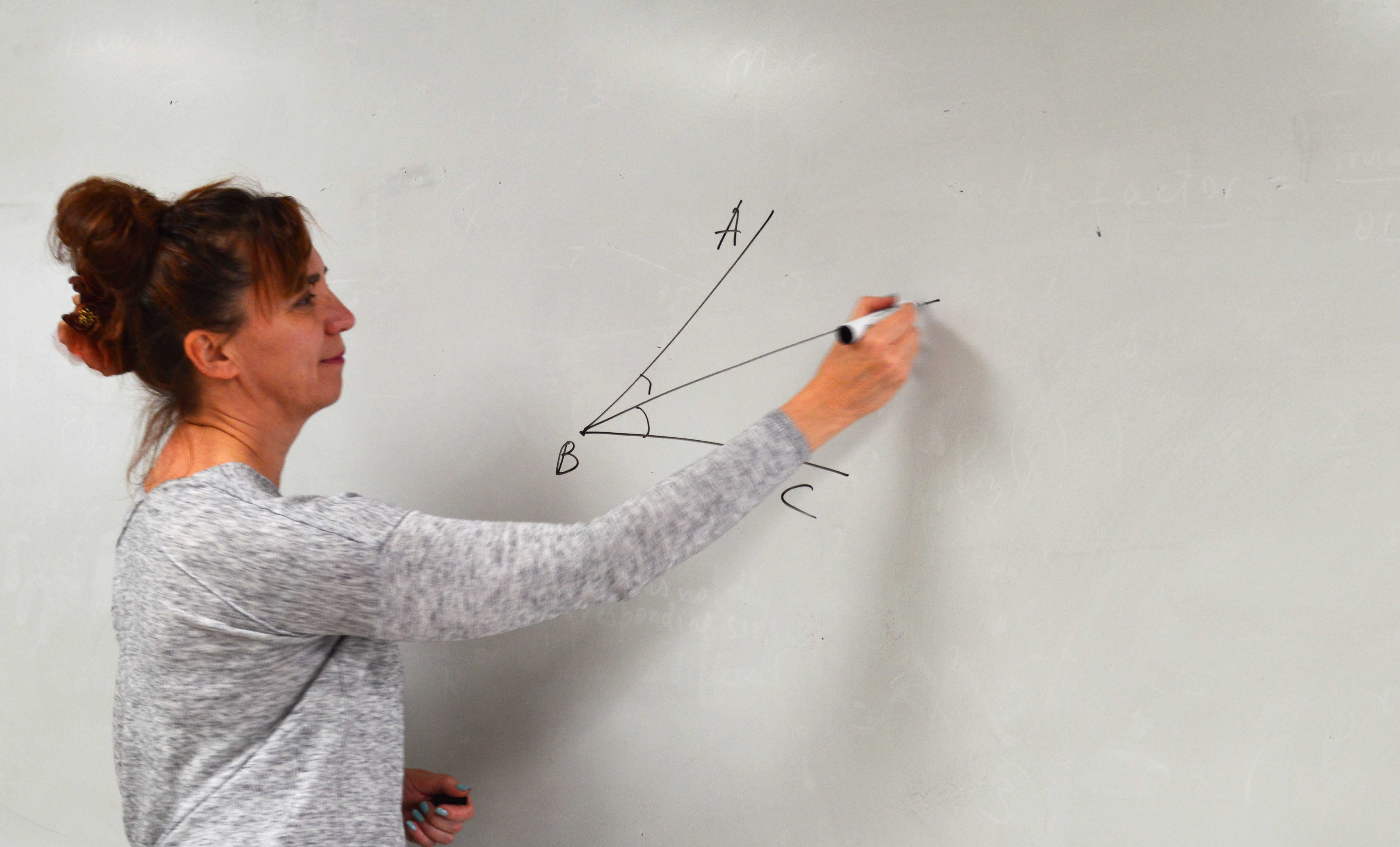 Mrs. Kennedy teaches bisecting angles during her fifth period Math 2 class.