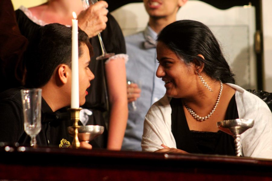 Bhavika Bhagat (right) and Pablo Martin (left) discussing table etiquette.
