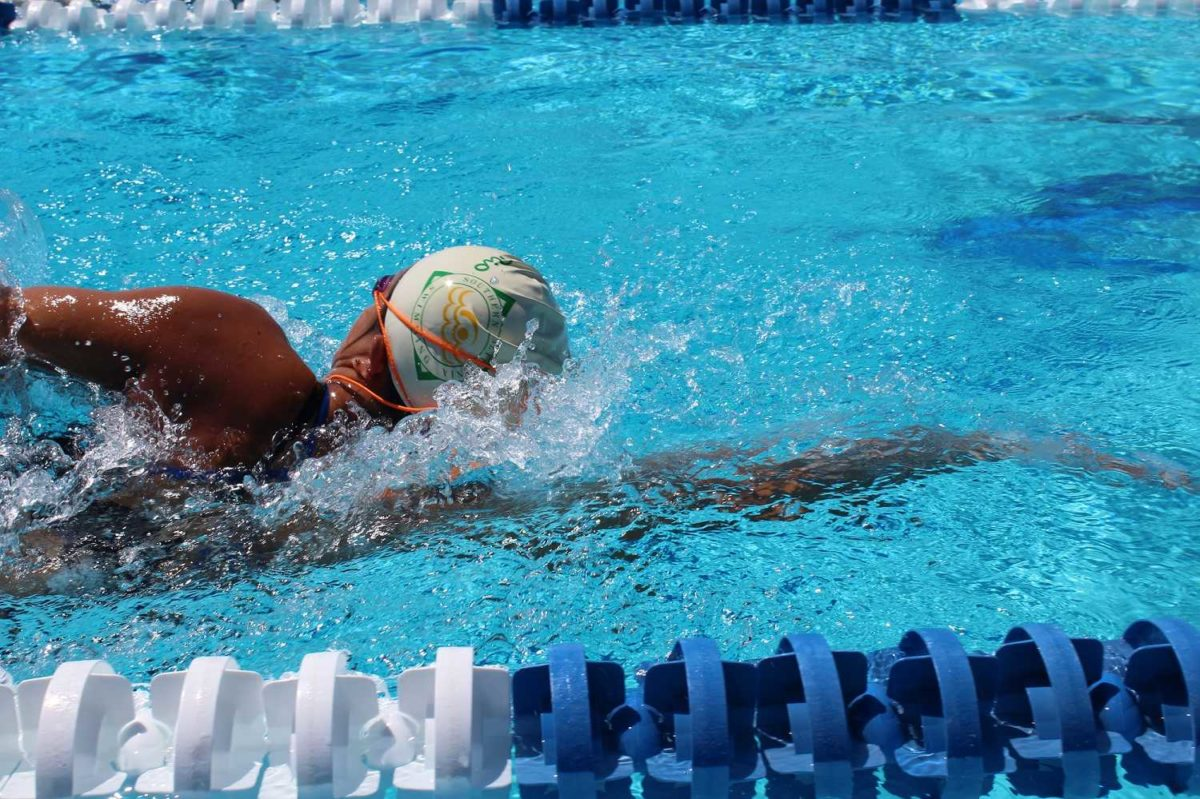 Brittany+Lam%2C+one+of+four+girls+to+break+the+record+for+the+200+medley+relay%2C+practices+swimming+laps+in+the+pool.