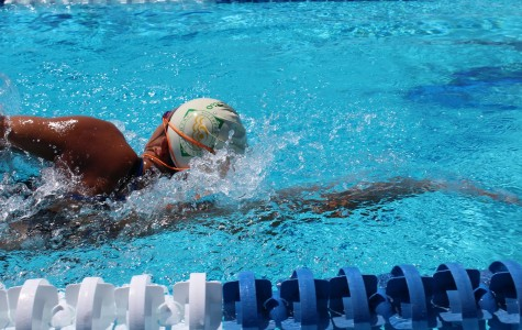 Brittany Lam, one of four girls to break the record for the 200 medley relay, practices swimming laps in the pool.
