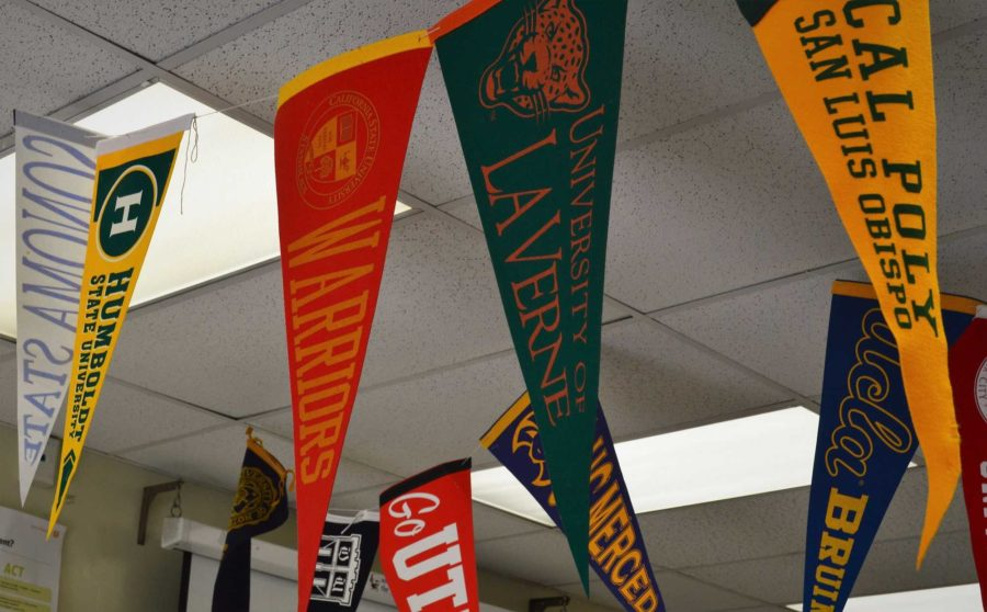 Banners fly in the College and Career Center representing colleges from across the country.