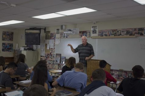 Mr. William Dowden lecturing to his third period Criminal Justice class. The class has been running since last year's spring semester.