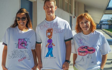 (From left to right) Mrs. Tawney Safran, Mr. Matthew Doyle and Mrs. Bonnie Mills promoting their PBIS t-shirts.