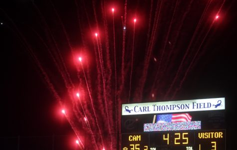 A fireworks show was put on during halftime of the homecoming game to celebrate homecoming festivities.
