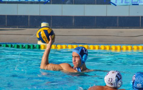 Senior Michael Rodriguez looks for a pass during the last home water polo game on Friday. Cam High beat Calabasas 7-3.