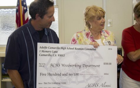 Mr. Peter Watchel, Woodshop teacher, being handed a $500 check from Mrs. Pat McCord, class of '61, and other Cam High alumni's for the woodwork department. The first four graduating classes also donated a $500 check to the music department.