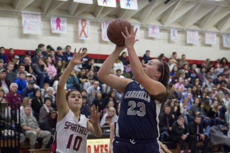 Senior Cameran Bahnsen shoots the basketball over a defender.