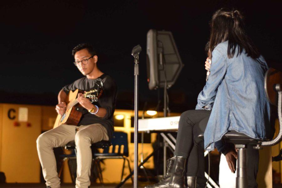 Joseph Cachin and Jalyne Santos, seniors, performing at the annual KIWIN's Benefit Concert.