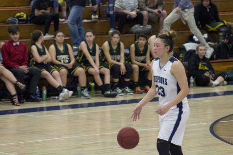 Junior Madeline Weight dribbles the ball up the court.