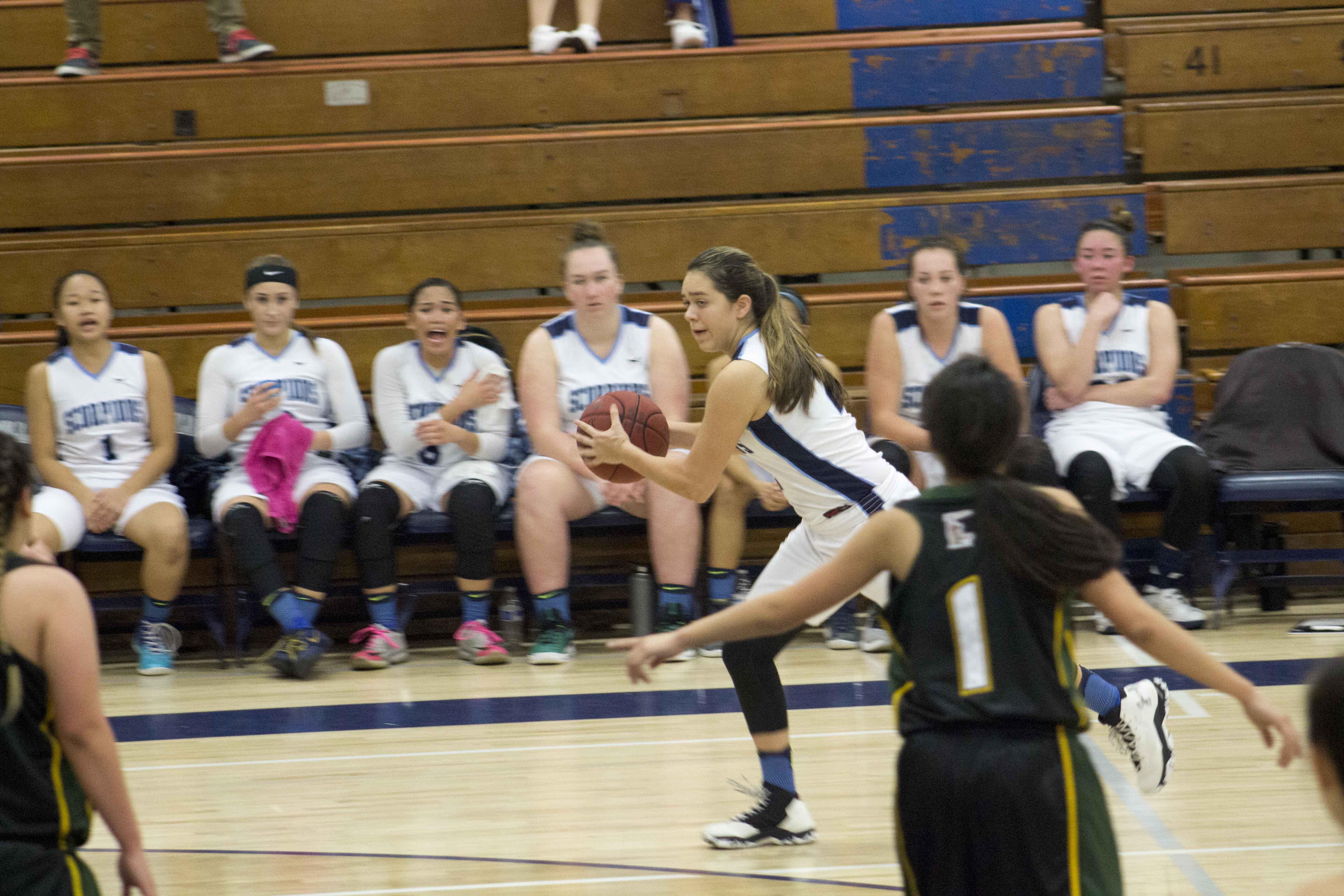 Alyssa Marin, freshman, looks to pass the ball.
