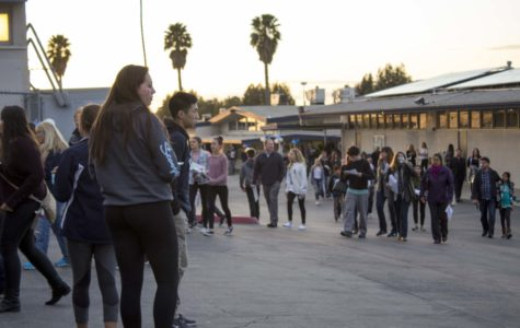 Students and parents gather in the Scorpion dome to watch performances by cheer, song and band for Scorpion Showcase.