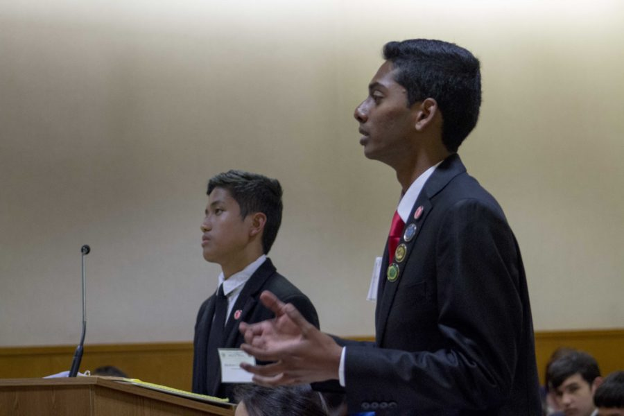 Avinash Nandakumar, senior and defense attorney of the A Team, speaking during a mock trial case against Hueneme High School.